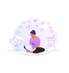 working online with laptop at home cute woman vector image