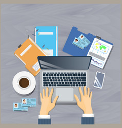 workplace top angle view concept business man sit vector image