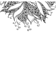Card template with fantasy black and white flower vector image