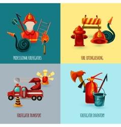 Firefighter Design Set vector image vector image
