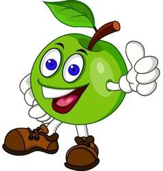 Green appple cartoon characer vector image