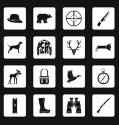 hunting icons set squares vector image