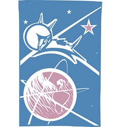 Laika over Earth Color vector image vector image