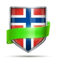 Shield with flag Norway and ribbon vector image vector image