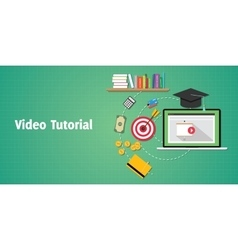 video tutorials concept with laptop video play and vector image