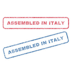assembled in italy textile stamps vector image