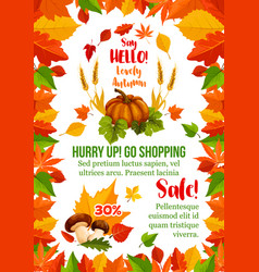 autumn sale poster with fall season leaf frame vector image vector image