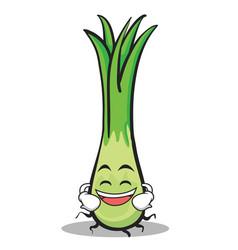 laughing face leek character cartoon vector image vector image