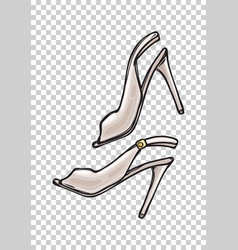 women s shoes with open toe in cartoon art style vector image vector image