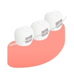 Braces on teeth icon isometric 3d style vector image