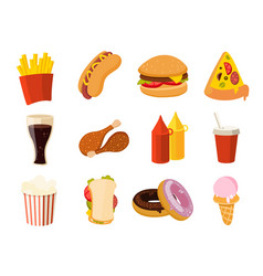 cartoon fast food burger drink chicken tacos vector image