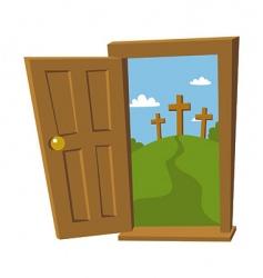 door open to the cross vector image vector image