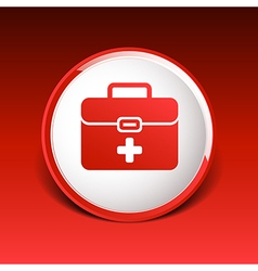 First aid icon kit medical box cross symbol vector image