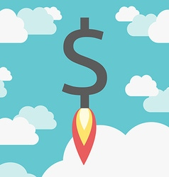 Rocket dollar above clouds vector image vector image