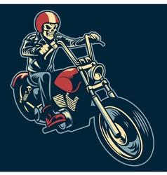 skull ride a big motorcycle vector image vector image