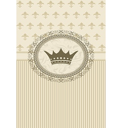 vintage background with floral frame and crown - vector image vector image