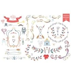 Vintage wedding Floral doodle Decoricons set vector image