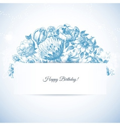 Etching floral garden greeting card hand drawn vector image vector image