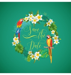 Save the date tropical flowers card vector