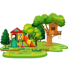 Scene of park with treehouse and slides vector image vector image