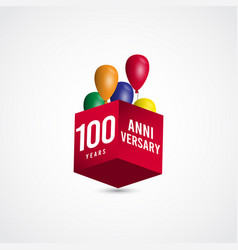 100 years anniversary celebration 3 d box label vector