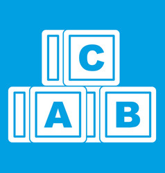 abc cubes icon white vector image
