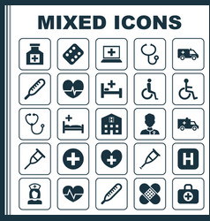 Antibiotic icons set collection tent rhythm vector