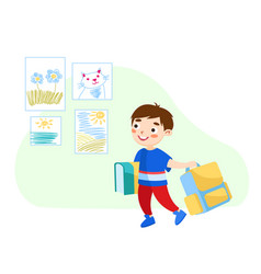 back to school concept little boy with books and vector image