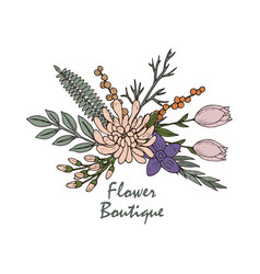 beautiful flower boutique logo emblem vector image