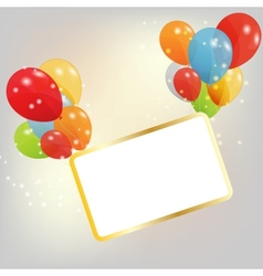 Birthday card with colored ballons vector