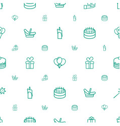 Birthday icons pattern seamless white background vector