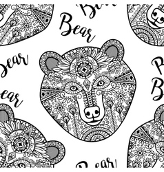 Black doodle bear face seamless pattern vector