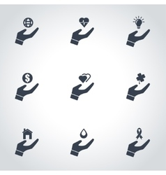 black insurance hand icon set vector image