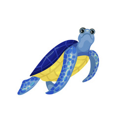 Blue turtle with a yellow belly vector