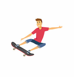 Boy on skateboard - cartoon people character vector