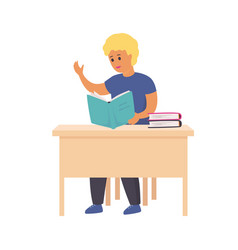 boy reading book smart smiling child sitting vector image