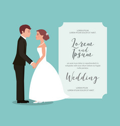 Bride and groom holding hands wedding card vector