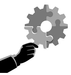 Businessman hand holding the final piece of puzzle vector