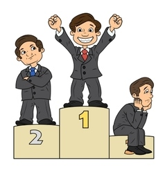 Businessmen are standing on pedestal vector