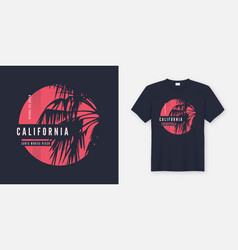 california santa monica t-shirt design with palm vector image