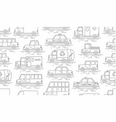 car seamless pattern linear style vector image
