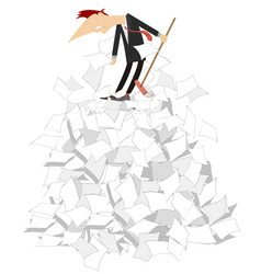 cartoon man tidying up papers vector image