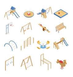 Children playground isometric icons vector