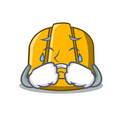 Crying construction helmet mascot cartoon vector