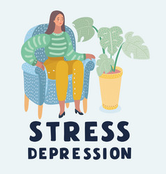 Crying woman in depression or stress sits on chair vector