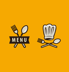 Cuisine cooking logo or label menu design vector