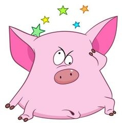 Cute cartoon pig with stars vector
