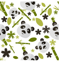 cute cartoon seamless pattern with panda vector image