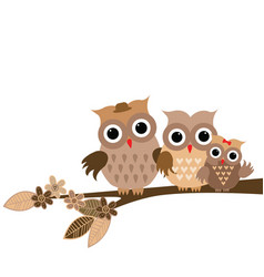 cute owls family on white background vector image