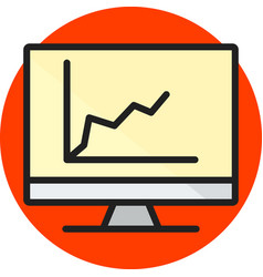 diagram on screen line filled icon vector image